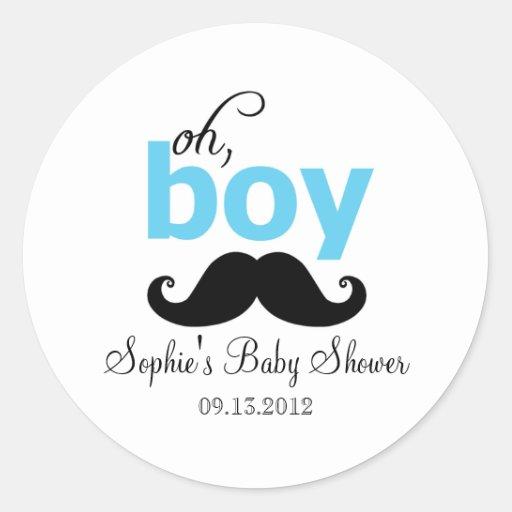 Blue It's a Boy Mustache Baby Shower Sticker