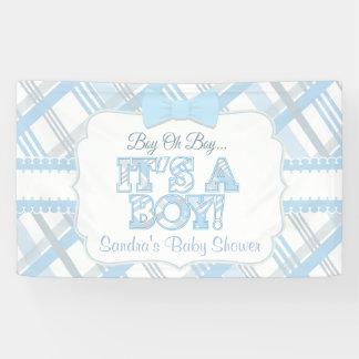 Blue, It's a Boy, Plaid Baby Shower Banner