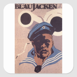 Blue Jacken  Propaganda Poster Square Sticker