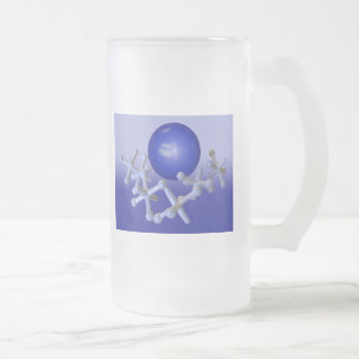 Blue Jacks and Ball Set Classic Retro Frosted Glas 16 Oz Frosted Glass Beer Mug
