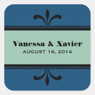 Blue/Jade Fancy Art Deco Wedding Stickers