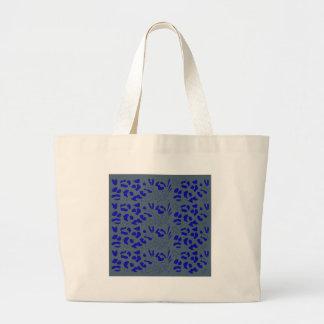 Blue jaguar design large tote bag