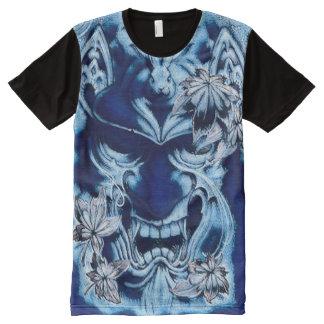 Blue Japanese Demon Spirit Mask Acrylic Paint