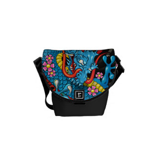 Blue Japanese Dragon Tattoo with Wind Bars Courier Bags