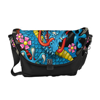 Blue Japanese Dragon Tattoo with Wind Bars Messenger Bag