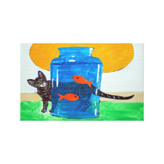 blue jar with fish and cat canvas print