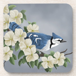 Blue Jay Among Flowers Coaster