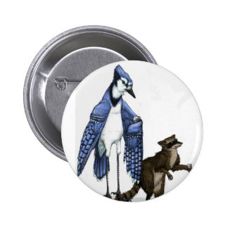 Blue Jay and Raccoon Enjoy a Latte... on a Button. 2 Inch Round Button