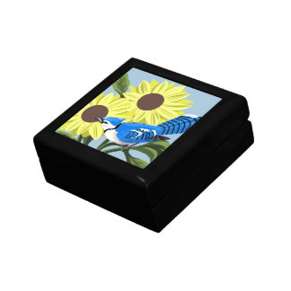 Blue Jay and Sunflowers Gift Box