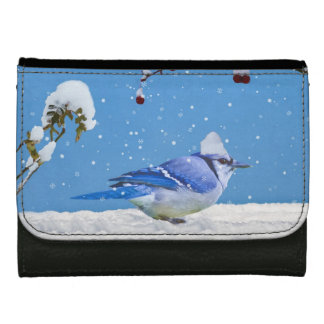 Blue Jay Bird and Snow Wallet For Women