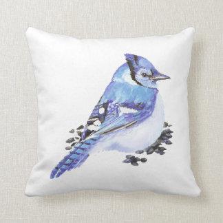Blue Jay Bird, Watercolor Nature, Wildlife Throw Pillow