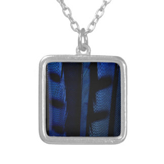 Blue jay feathers silver plated necklace