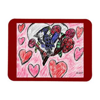 Blue jay flowers rectangular photo magnet