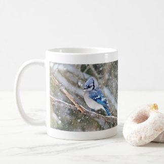 Blue Jay in a Snowstorm Coffee Mug