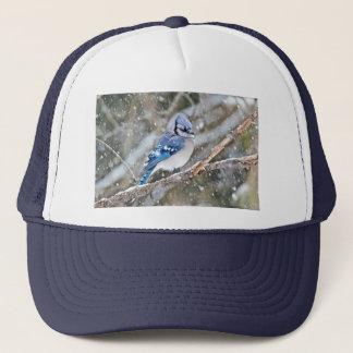 Blue Jay in a Snowstorm Trucker Hat