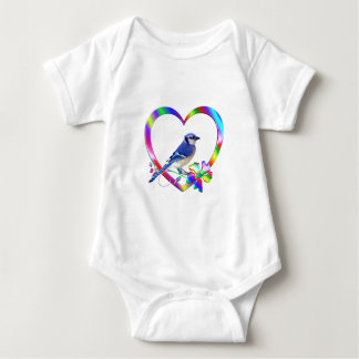 Blue Jay in Colorful Heart Baby Bodysuit