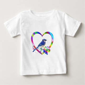Blue Jay in Colorful Heart Baby T-Shirt