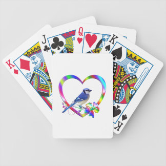 Blue Jay in Colorful Heart Bicycle Playing Cards