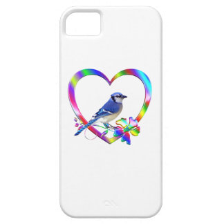 Blue Jay in Colorful Heart Case For The iPhone 5