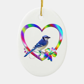 Blue Jay in Colorful Heart Ceramic Ornament