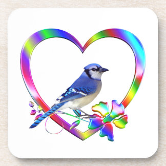 Blue Jay in Colorful Heart Coaster