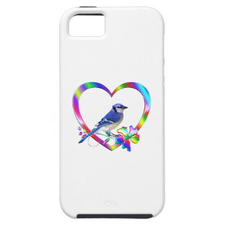 Blue Jay in Colorful Heart iPhone 5 Cases