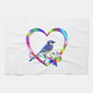 Blue Jay in Colorful Heart Kitchen Towel