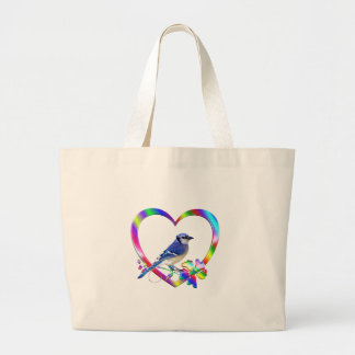 Blue Jay in Colorful Heart Large Tote Bag
