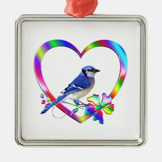 Blue Jay in Colorful Heart Metal Ornament