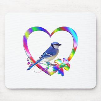 Blue Jay in Colorful Heart Mouse Pad