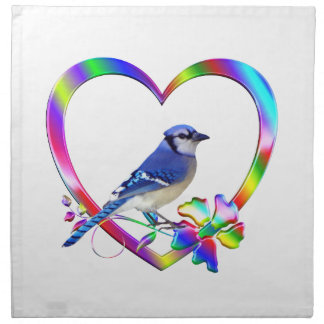 Blue Jay in Colorful Heart Napkin