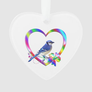 Blue Jay in Colorful Heart Ornament