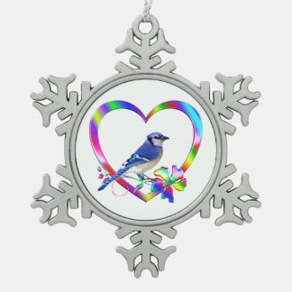 Blue Jay in Colorful Heart Snowflake Pewter Christmas Ornament