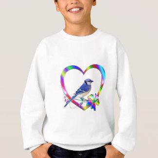 Blue Jay in Colorful Heart Sweatshirt