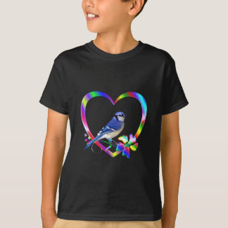 Blue Jay in Colorful Heart T-Shirt