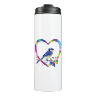 Blue Jay in Colorful Heart Thermal Tumbler