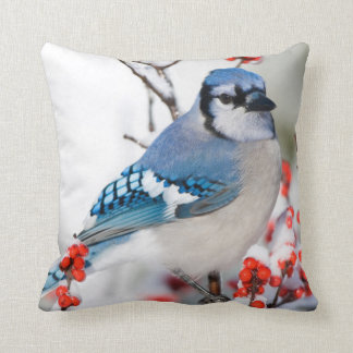 Blue Jay in Common Winterberry Throw Pillow