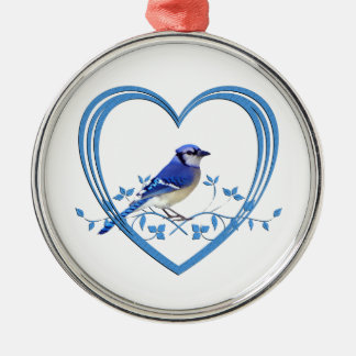 Blue Jay in Heart Metal Ornament