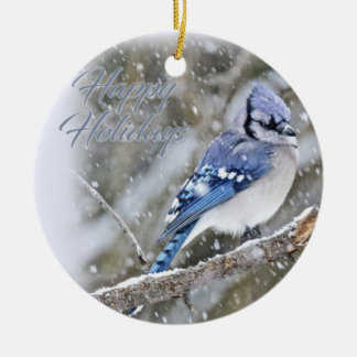 Blue Jay in Snow Christmas Holiday Ceramic Ornament