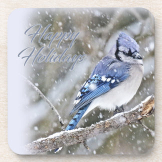 Blue Jay in Snow Christmas Holiday Coaster