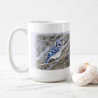 Blue Jay in Snow Christmas Holiday Coffee Mug