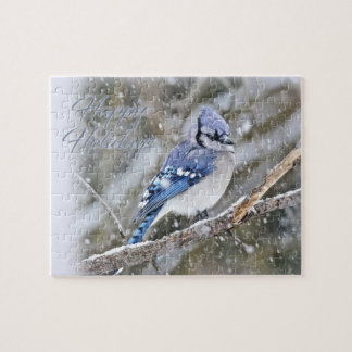 Blue Jay in Snow Christmas Holiday Jigsaw Puzzle