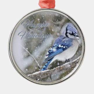 Blue Jay in Snow Christmas Holiday Metal Ornament