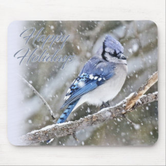 Blue Jay in Snow Christmas Holiday Mouse Pad
