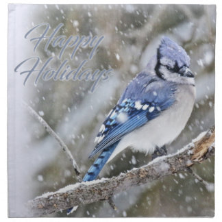 Blue Jay in Snow Christmas Holiday Napkin