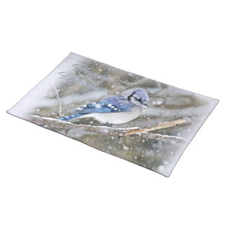 Blue Jay in Snow Christmas Holiday Placemat