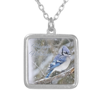 Blue Jay in Snow Christmas Holiday Silver Plated Necklace