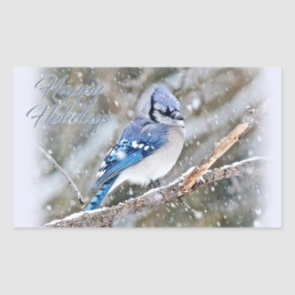 Blue Jay in Snow Christmas Holiday Sticker