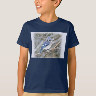 Blue Jay in Snow Christmas Holiday T-Shirt