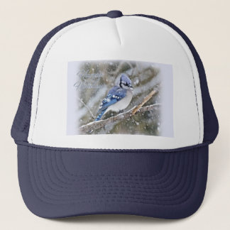 Blue Jay in Snow Christmas Holiday Trucker Hat